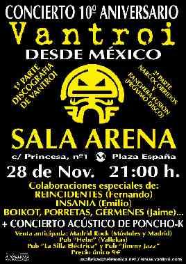 Vantroi: Crónica del concierto en la sala La Arena, Madrid (28/11/02)