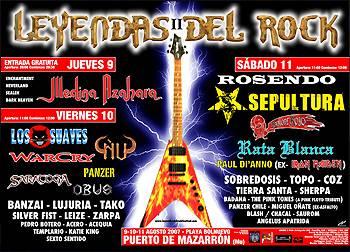 Festival Leyendas del Rock II: Previo – 9,10 y 11 de Agosto, Puerto de Mazarrón