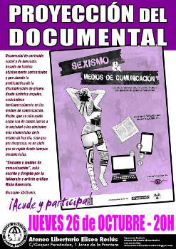 """Mabe Navarrete: Proyección de """"Sexismo y Medios de Comunicación"""", 26 de octubre, Jerez de la Frontera"""