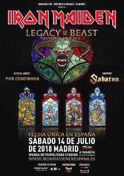 Iron Maiden: Concierto en Madrid, el 14 de julio 2018