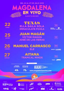 Magdalena en Vivo 2019: 22, 25, 26 y 27 de julio, en Santander