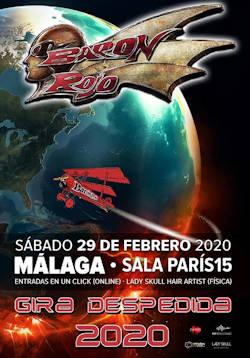 Barón Rojo: Concierto el 29 de febrero de 2020, en Málaga