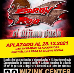 Barón Rojo : Aplaza su gran concierto de despedida al 28/12/2021